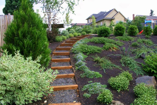 Zahrady ve svahu for Low maintenance sloping garden ideas