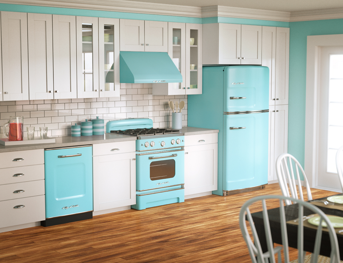 A-bright-kitchen-with-striking-retro-blue-elements